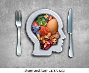 Paleo diet or paleolithic food healthy lifestyle as a plate shaped as a person with fish nuts vegetables berries and an egg with 3D illustration elements.