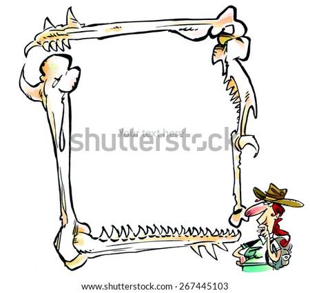 Royalty Free Stock Illustration Of Paleontologist Bone Frame Write
