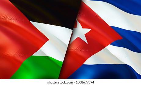 Die Flaggen Palästinas und Kubas. 3D Waving Flag Design. Palästina-Kuba-Flagge, Bild, Bildschirmhintergrund. Palestine vs Cuba image,3D rendering. Palästina Kuba Beziehungen Allianz und Handel, Reisen, Tourismus Konzept