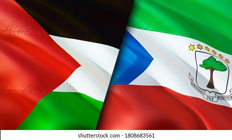 Palestine and Equatorial Guinea flags. 3D Waving flag design. Palestine Equatorial Guinea flag, picture, wallpaper. Palestine vs Equatorial Guinea image,3D rendering. Palestine Equatorial Guinea
