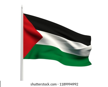 Palestine flag floating in the wind with a White sky background. 3D illustration.