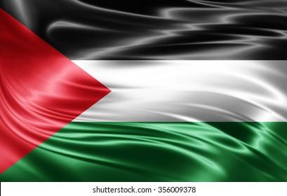Palestine  flag of silk