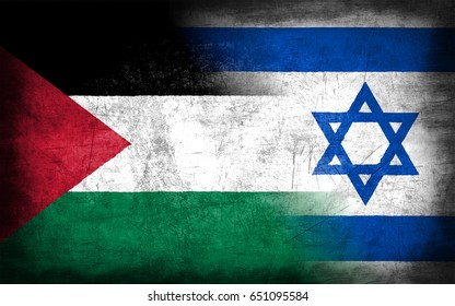 Palestine and Israel flag, with grunge metal texture