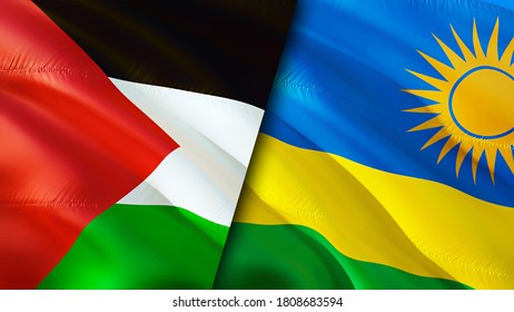 Palestine and Rwanda flags. 3D Waving flag design. Palestine Rwanda flag, picture, wallpaper. Palestine vs Rwanda image,3D rendering. Palestine Rwanda relations alliance and Trade,travel,tourism