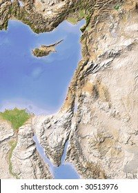 Palestine. Shaded relief map. Surrounding territory greyed out. Colored according to elevation. Includes clip path for the land area.