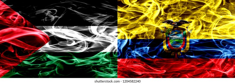 Palestine vs Ecuador, Ecuadorian smoke flags placed side by side. Thick colored silky smoke flags of Palestinian and Ecuador, Ecuadorian