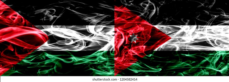 Palestine vs Jordan, Jordanian smoke flags placed side by side. Thick colored silky smoke flags of Palestinian and Jordan, Jordanian