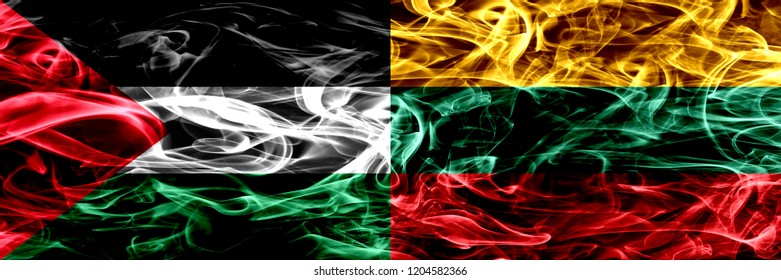 Palestine vs Lithuania, Lithuanian smoke flags placed side by side. Thick colored silky smoke flags of Palestinian and Lithuania, Lithuanian