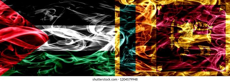 Palestine vs Sri Lanka, Sri Lankan smoke flags placed side by side. Thick colored silky smoke flags of Palestinian and Sri Lanka, Sri Lankan