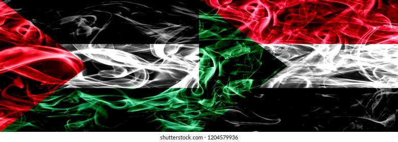 Palestine vs Sudan, Sudanese smoke flags placed side by side. Thick colored silky smoke flags of Palestinian and Sudan, Sudanese