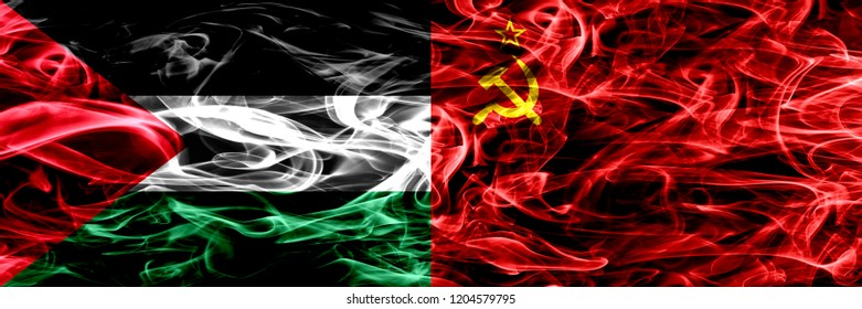 Palestine vs USSR, Communist smoke flags placed side by side. Thick colored silky smoke flags of Palestinian and USSR, Communist