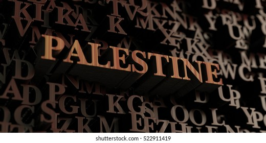 Palestine - Wooden 3D rendered letters/message.  Can be used for an online banner ad or a print postcard.