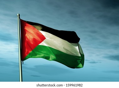 Palestinians flag waving on the wind