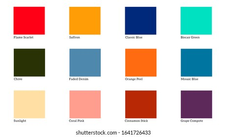 Palette color of the spring summer 2020. Color tone for design on white background.
