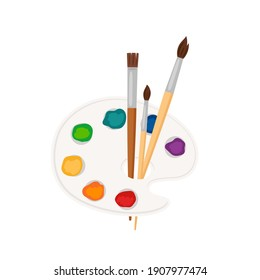 Palette icon. paint brushes, palette with color paint strokes isolated on white background