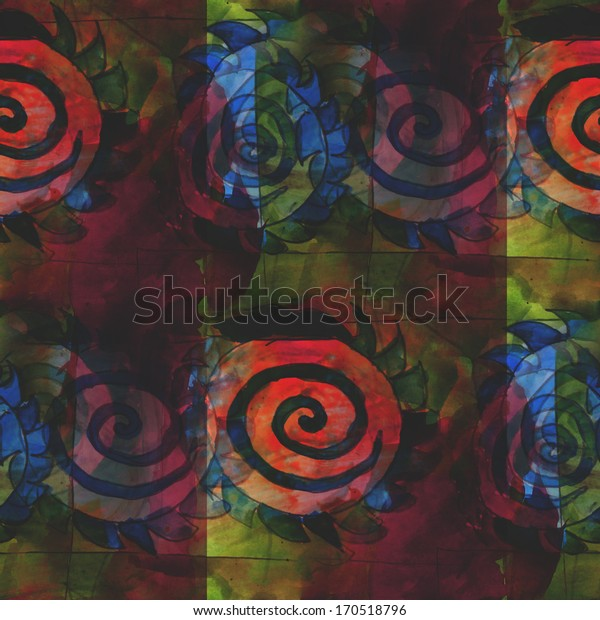palette seamless picture frame graphic style texture watercolor blue, green, red background