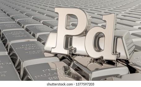 Palladium ingots background with Pd symbol. 3D rendering