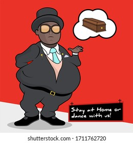 """Pallbearer fat black man with sunglasses. Coffin dancers at funeral. Flat Illustration - Meme """"Stay at home or dance with us""""  - Shutterstock ID 1711762720"""