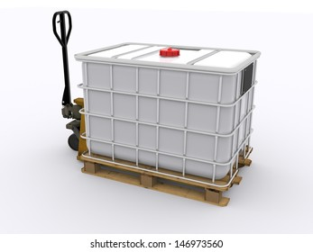 Pallet Jack with IBC container