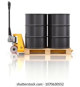 Pallet jack with wooden pallet and oil barrels - 3D illustration