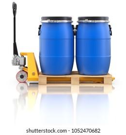 Pallet jack with wooden pallet and plastic barrels - 3D illustration
