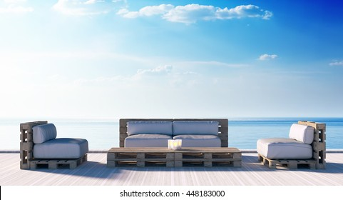 Pallet seat on wood deck and sea view 3D rendering