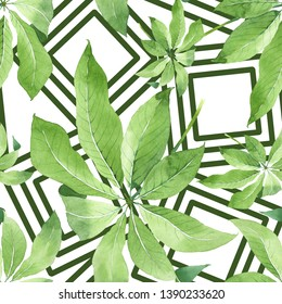 Palm beach tree leaves jungle botanical. Watercolor illustration set. Watercolour drawing fashion aquarelle. Seamless background pattern. Fabric wallpaper print texture.
