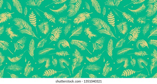 Palm branches on the green background. Exotic pattern. Hand drawn watercolor tropical seamless pattern with the botanical silhouettes of palm leaves. Minimal design of app background, cloth print.