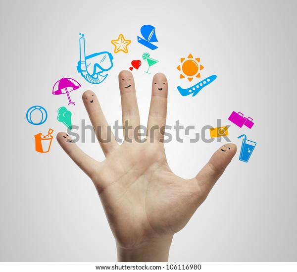 Palm with fingers  smileys dream vacation