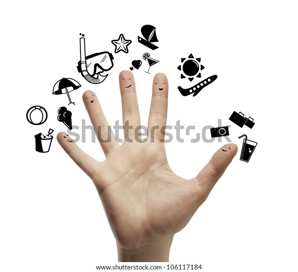 Palm with fingers  smileys dream vacation, isolated