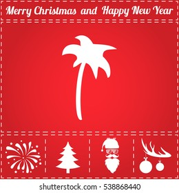 Palm. Flat symbol and bonus icons for New Year - Santa Claus, Christmas Tree, Firework, Balls on deer antlers