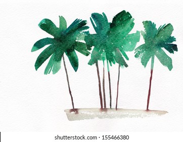 Palm grove, watercolor