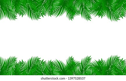 Palm leaf frame. Tropical design on white isolated background.