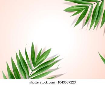 Palm leaves background, decorative summer plant design elements in 3d illustration