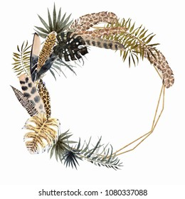 Palm Leaves  And Feathers Golden Watercolor Wreath