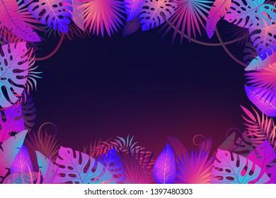 Palm leaves frame. Exotic night jungle tropical floral leaf plants flower nature botanica textile banner art fashion