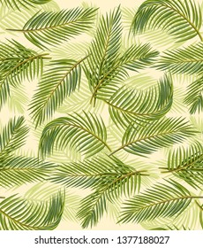 Palm Leaves Pencil Illustration Seamless Pattern