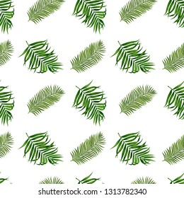 Palm leaves seamless pattern for fabric, wallpaper, wrapping paper, etc. Tropical leaves watercolor hand painted.