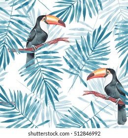 Palm leaves and Toucan. Watercolor seamless pattern 3