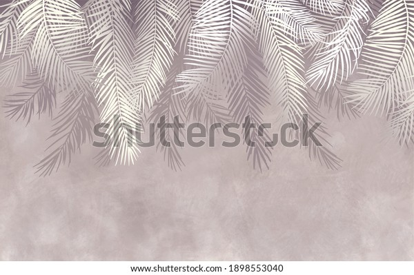 Palm leaves, tropical leaves, grunge, photo wallpaper. Large palm branches on a light background.
