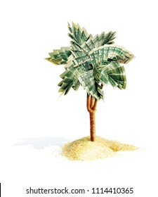 Palm origami with leaves, folded from dollar bills. The money tree grows from a pile of sand. 3d illustration. Isolated on white background