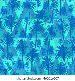 Palm pattern on a triangle background. Green floral pattern with Soft focus effect for floral print design. Artistic Photo colage.