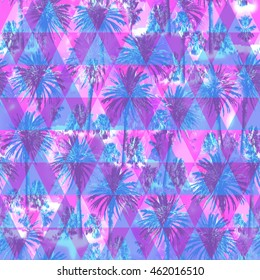 Palm pattern on a triangle background. Pink blue color floral pattern with Soft focus effect for floral print design. Artistic Photo colage.