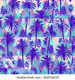 Palm pattern on a triangle background. Triangle floral pattern with Soft focus effect for floral print design. Artistic Photo colage.