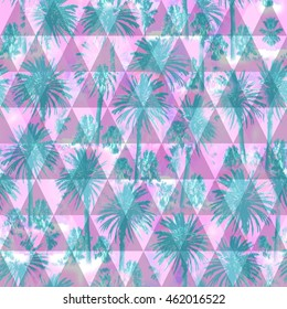Palm pattern on a triangle background. Soft focus effect for floral print design. Pink Green Artistic Photo colage.