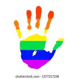 Palm with rainbow colors of LGBT flag isolated on white background. Concept stop homophobia, human rights observance, lesbian and gay. Handprint, arm symbol icon Pride day