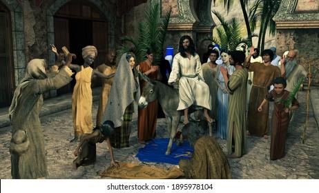 Palm Sunday. Jesus rides the donkey into Jerusalem: Bible passages Mark 11: 1-11, Matthew 21: 1-11. Artistic Bible illustration. 3d illustration, 3d rendering