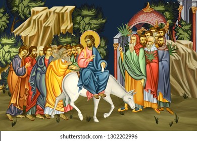 Palm Sunday. Jesus' triumphal entry into Jerusalem. Dominica in palmis de passione domini. Illustration - fresco in Byzantine style.