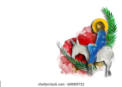 Palm Sunday - The Triumphal Entry of Jesus into Jerusalem on a donkey with palm leaves. Modern abstract artistic digital illustration created without reference image.