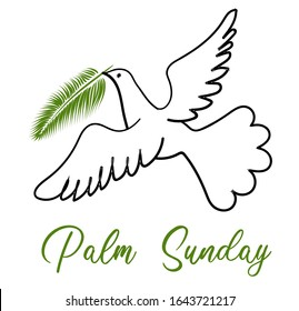 Palm Sunday. The week before Easter. banner or card. White dove with palm leaf